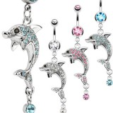 Piercing nombril dauphin multiples strass (19)