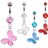 Piercing nombril papillon coloré unicolore (39)