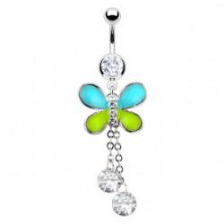 Piercing nombril papillon deux strass pendants (27)