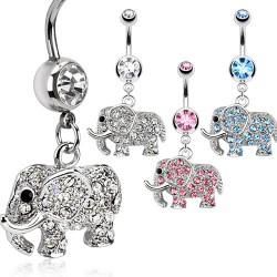 Piercing nombril éléphant multiples strass (29)