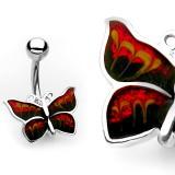 Piercing nombril papillon ailes sombres (45)