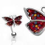 Piercing nombril papillon avec paillettes inversé (48)
