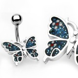 Piercing nombril papillon bleu paillettes (79)