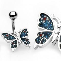 Piercing nombril papillon bleu paillettes (79)