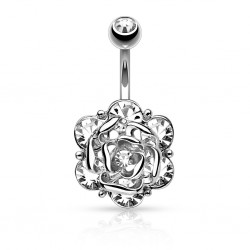 Piercing nombril fleur 12 - Cristal transparent