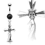 Piercing nombril croix 11 - Tête de mort couronnée