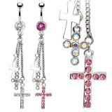 Piercing nombril croix 17 - Trois chainettes