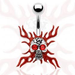 Piercing nombril gothique 28 - Crâne fond rouge