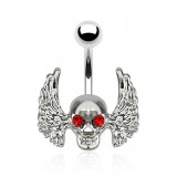 Piercing nombril gothique 29 - Crâne ailé