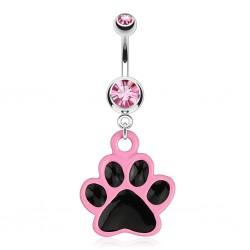 Piercing nombril gothique 31 - Patte de chat rose et noire