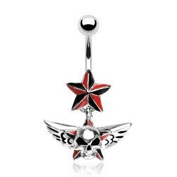 Piercing nombril gothique 47 - Crâne étoile