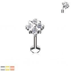 Piercing micro-labret 102 - Flocon cristal