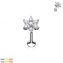 Piercing micro-labret 103 - Fleur cristal et opalite
