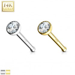 Nez droit en or-14K - Boule avec zircone transparent