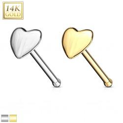 Piercing nez droit 0,8mm 15 or 14k coeur