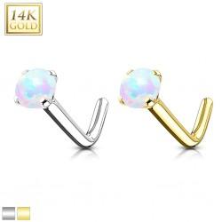 Nez en L en or-14K - Boule opale