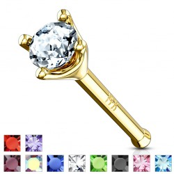 Piercing stud de nez 0.5mm 50 - Or-9k cristal rond
