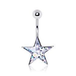 Piercing nombril étoile 06 - Glitter transparent