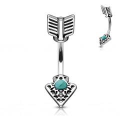 Piercing nombril haut et bas flèche gem turquoise (D216)