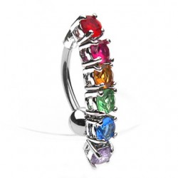 Piercing nombril Gay pride 03 - Cristaux inverés