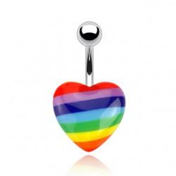 Piercing nombril Gay pride 01 - Coeur acrylique