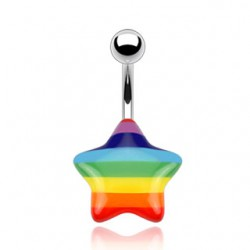 Piercing nombril Gay pride 06 - étoile acrylique