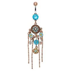 Piercing nombril vintage bronze et turquoise (D111)