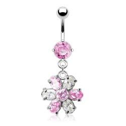 Piercing nombril cristal 16 - Fleur pendante