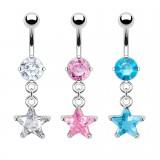 Piercing nombril cristal 17 - étoile pendante