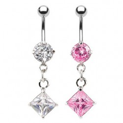 Piercing nombril cristal 23 - Losange pendant
