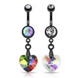 Piercing nombril cristal 37 - Black coeur