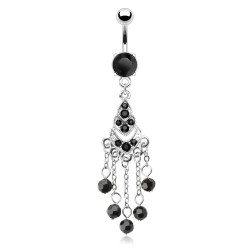 Piercing nombril chandelier strass noir (D34)