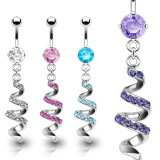 Piercing nombril vrillé multistrass (D04)