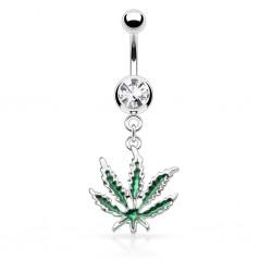 Piercing nombril cannabis 01 - Feuille verte