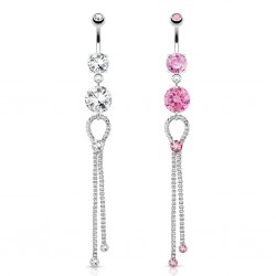 Piercing nombril chainettes et zircones ronds (D15)