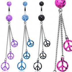 Piercing nombril peace and love chainettes (D114)