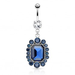 Piercing nombril vintage zircones bleus (D132)