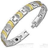 Bracelet en acier 10 - Demi-cercles jaunes