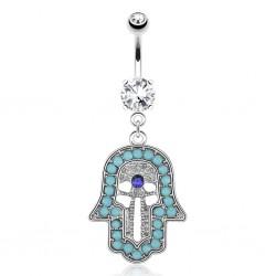 Piercing nombril main de fatma perles turquoises (D51)