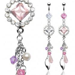 Piercing nombril pendant rose et lilas (D138)