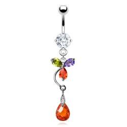 Piercing nombril multicolore goutte pendante (D139)