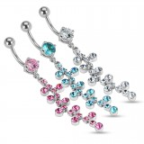 Piercing nombril cascade de strass coloré (D211)