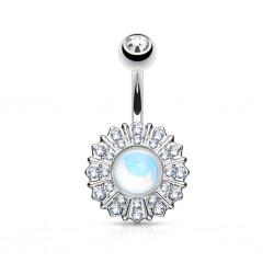 Piercing nombril gem aurora et cristaux transparents (D50)