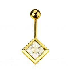 Piercing nombril plaqué-or 01 - Cristal carré
