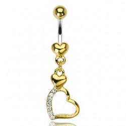 Piercing nombril plaqué-or 14 - Coeur