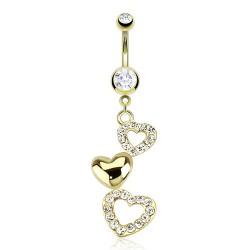 Piercing nombril plaqué-or 22 - Coeur