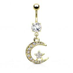Piercing nombril plaqué-or 27 - Lune et étoile