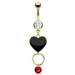 Piercing nombril plaqué-or 28 - Coeur noir et cercle