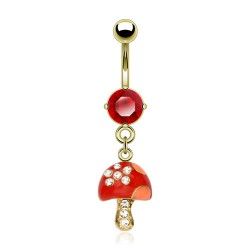 Piercing nombril plaqué-or 36 - Champignon