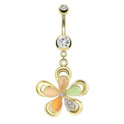 Piercing nombril plaqué-or 46 - Fleur